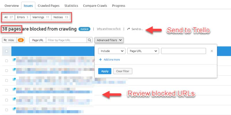 SEMrush report showing blocked URLs.