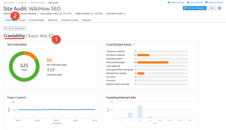 SEMrush Site Audit report showing crawl errors.