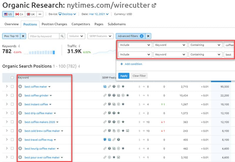 Using advanced keyword filters in Semrush.